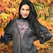 Одежда handmade. Livemaster - original item Unique warm blouse with hand embroidery