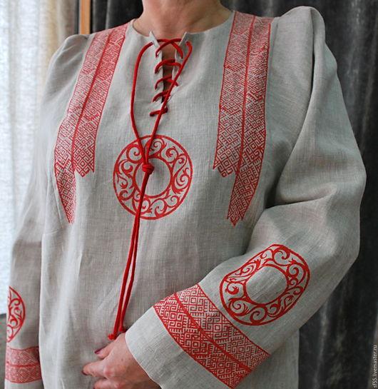 """Блузки ручной работы. Ярмарка Мастеров - ручная работа. Купить Блуза из льна с ручной верховой набойкой  """" Русский стиль"""". Handmade."""
