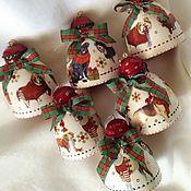 """Подарки к праздникам ручной работы. Ярмарка Мастеров - ручная работа """"Год собаки"""" - набор колокольчиков на елку. Handmade."""