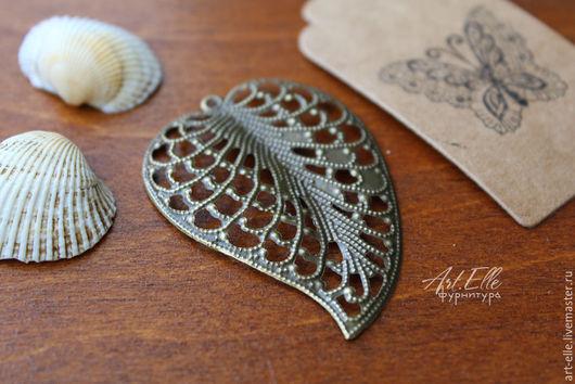 Для украшений ручной работы. Ярмарка Мастеров - ручная работа. Купить Элемент филиграни в виде листа, цвет бронза антик. Handmade.