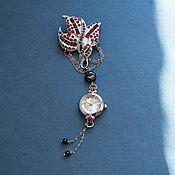 """Украшения handmade. Livemaster - original item Brooch with watch """"Time to blossom of pomegranate"""". Handmade."""