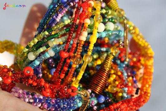 """Браслеты ручной работы. Ярмарка Мастеров - ручная работа. Купить Браслет """"Переливы радуги"""". Handmade. Яркий браслет, разноцветный браслет"""