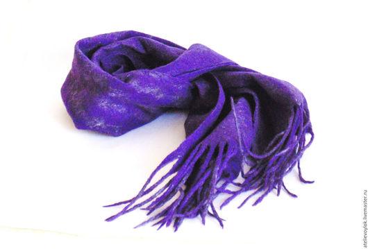 Шарфы и шарфики ручной работы. Ярмарка Мастеров - ручная работа. Купить Фиолетовый шарф. Handmade. Тёмно-фиолетовый, шарф мужской