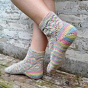 Аксессуары handmade. Livemaster - original item Socks with patterns woolen openwork women`s knitted socks. Handmade.