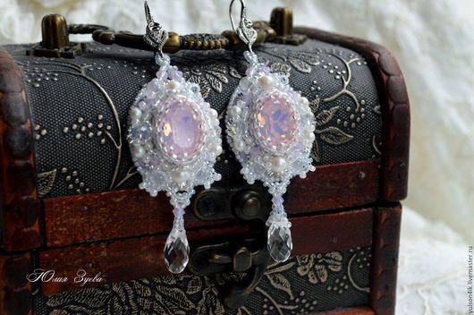 Свадебные серьги `Моя нежность`, кристаллы Swarovski, японский бисер, длинные серьги из бисера, украшения ручной работы, Юлия Зуева.