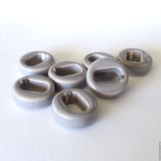 Для украшений ручной работы. Ярмарка Мастеров - ручная работа. Купить Керамические бусины для браслетов Regaliz серые. Handmade. Серый