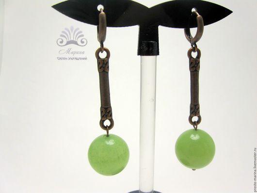 """Серьги ручной работы. Ярмарка Мастеров - ручная работа. Купить Серьги """"Ногат"""". Handmade. Серьги зеленые, красивый подарок"""