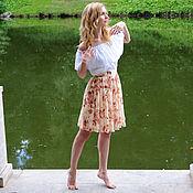 Одежда ручной работы. Ярмарка Мастеров - ручная работа Розовая Юбка шифоновая с цветочным принтом. Handmade.