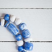 Украшения ручной работы. Ярмарка Мастеров - ручная работа Какое небо голубое! бусы керамика. Handmade.