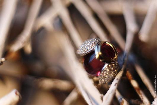 """Кольца ручной работы. Ярмарка Мастеров - ручная работа. Купить Коктейльное кольцо """"Жук"""" с кунцитом. Handmade. Золотой, кольцо в подарок"""