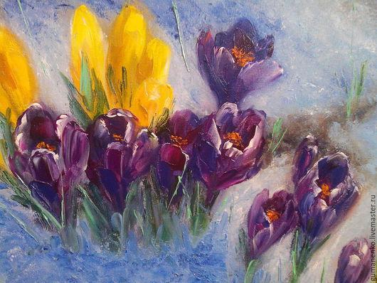 Картины цветов ручной работы. Ярмарка Мастеров - ручная работа. Купить Крокусы. Handmade. Голубой, цветы, весенние цветы