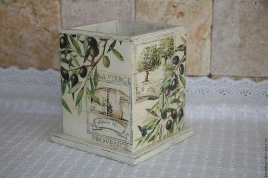 """Кухня ручной работы. Ярмарка Мастеров - ручная работа. Купить Короб-подставка """"Provence"""". Handmade. Подставка для карандашей, оливковый"""