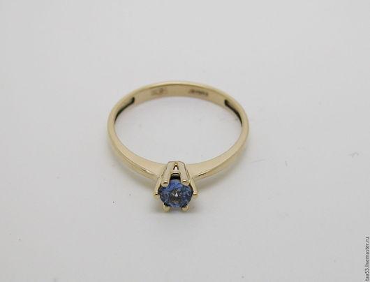 Кольца ручной работы. Ярмарка Мастеров - ручная работа. Купить Золотое кольцо с Сапфиром Ф 4.3 мм.. Handmade.