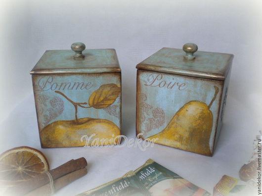 Короб для кухни (набор из 2-х шт) Фруктовый Соблазн.Короб для специй.Короб для сладостей.Короб для кухни.Короб для хранения.Короб для трав.Короб декупаж.