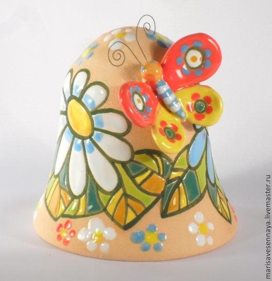 Сувениры ручной работы. Ярмарка Мастеров - ручная работа. Купить Гончарное изделие Колокольчик с бабочкой. Handmade. Разноцветный
