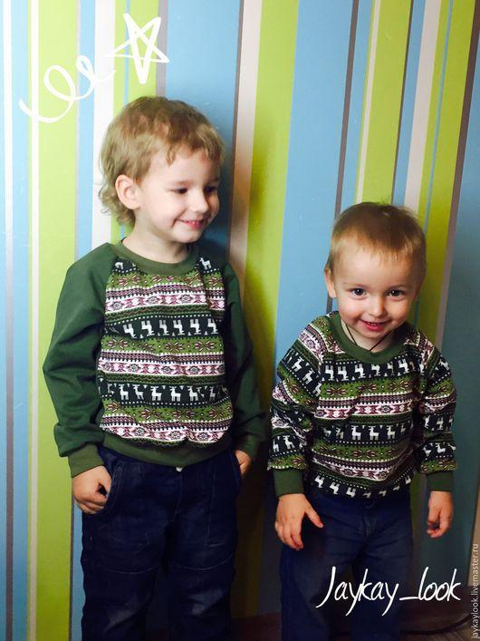 """Одежда для мальчиков, ручной работы. Ярмарка Мастеров - ручная работа. Купить Свитшоты детские """"Олени"""". Handmade. Тёмно-зелёный"""