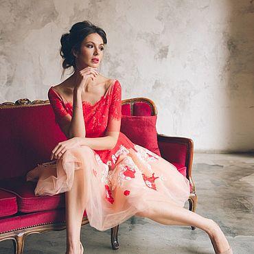 Одежда ручной работы. Ярмарка Мастеров - ручная работа Вечернее платье с красным кружевом. Handmade.
