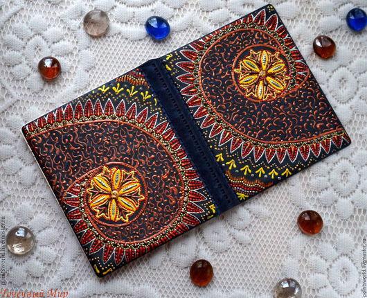 Визитница, кредитница, кошелек для карточек, кармашки для карточек, подарок с росписью, роспись, точечная роспись, комета, космос, звезды, большая визитница,визитница в подарок, синий с рыжим, подарок