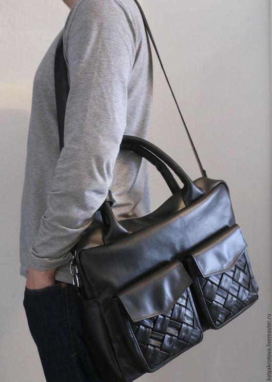 Мужские сумки ручной работы. Ярмарка Мастеров - ручная работа. Купить Мужская сумка Фрэнк. Handmade. Черный, сумка мужская