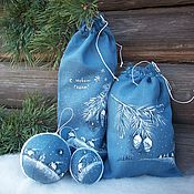 Подарки к праздникам handmade. Livemaster - original item Christmas linen sacks and balls painted.. Handmade.