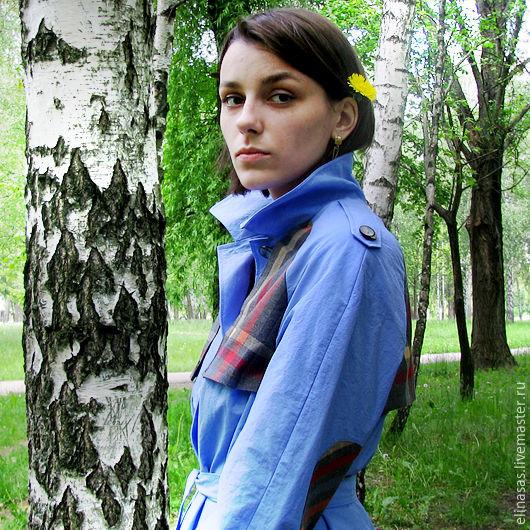 Верхняя одежда ручной работы. Ярмарка Мастеров - ручная работа. Купить Плащ голубой весенний. Handmade. Голубой, зелень