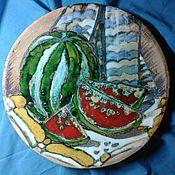 Тарелки ручной работы. Ярмарка Мастеров - ручная работа керамическая  настенная тарелка Август. Handmade.