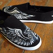 Обувь ручной работы. Ярмарка Мастеров - ручная работа слипоны кеды Rock Star. Handmade.