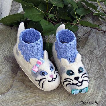 Footwear handmade. Livemaster - original item children`s Slippers KITTENS. Handmade.