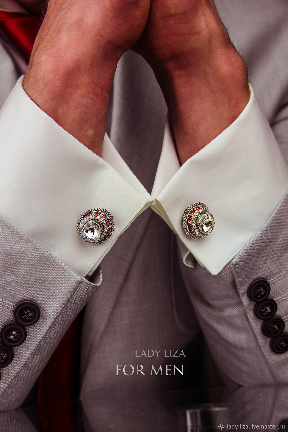 Cufflinks: OSCAR. color: White and red in silver. Cufflinks for men, Cuff Links, Armavir,  Фото №1