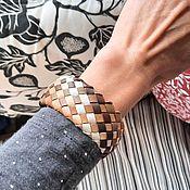 Украшения handmade. Livemaster - original item Braided bracelet: leather Caramel Etude Genuine leather. Handmade.