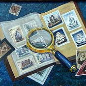 """Картины ручной работы. Ярмарка Мастеров - ручная работа Картина маслом """"Филателия"""". Handmade."""
