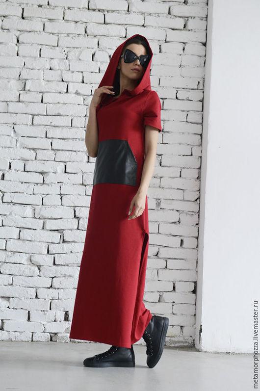 Платья ручной работы. Ярмарка Мастеров - ручная работа. Купить Платье с капюшоном, платье из хлопка. Handmade. Красный, повседневное платье