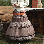 Одежда ручной работы. Ярмарка Мастеров - ручная работа Юбка длинная красивая лен клетка горошки в бохо стиле. Handmade.