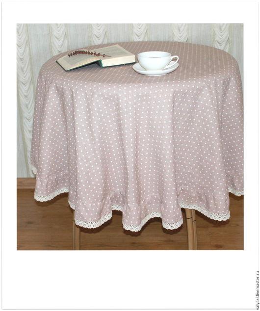 Текстиль, ковры ручной работы. Ярмарка Мастеров - ручная работа. Купить Льняная скатерть в горошек 160 см. Handmade. Бежевый