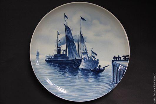 """Винтажные сувениры. Ярмарка Мастеров - ручная работа. Купить Тарелка """"Корабль"""" керамика. Handmade. Комбинированный, декоративная тарелка, для декора"""