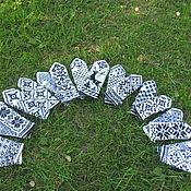 Аксессуары ручной работы. Ярмарка Мастеров - ручная работа Варежки бело-черные Корпоративный подарок. Handmade.