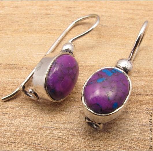 Серебряные серьги с медно-фиолетовой бирюзой