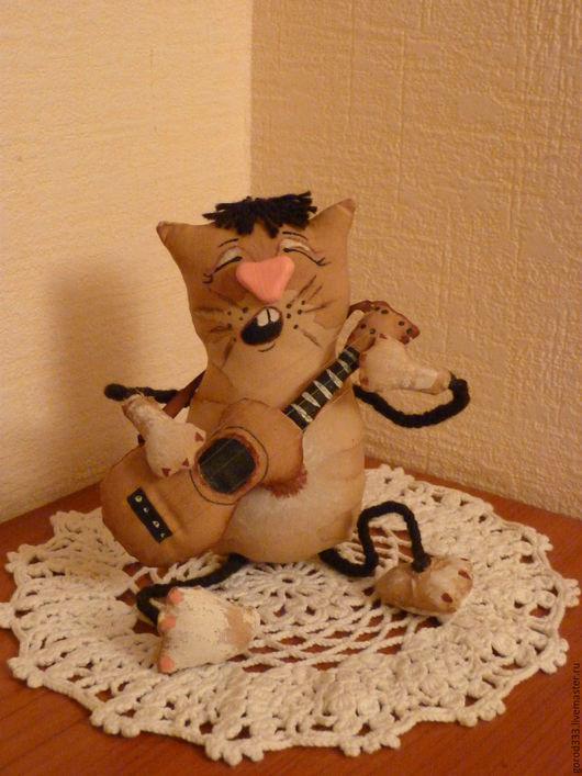 Ароматизированные куклы ручной работы. Ярмарка Мастеров - ручная работа. Купить кот-гитарист. Handmade. Синий, Праздник, наполнитель синтепон