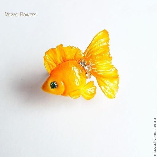 """Кольца ручной работы. Ярмарка Мастеров - ручная работа. Купить Кольцо """"Золотая рыбка"""". Полимерная глина.. Handmade. Оранжевый, рыбка"""
