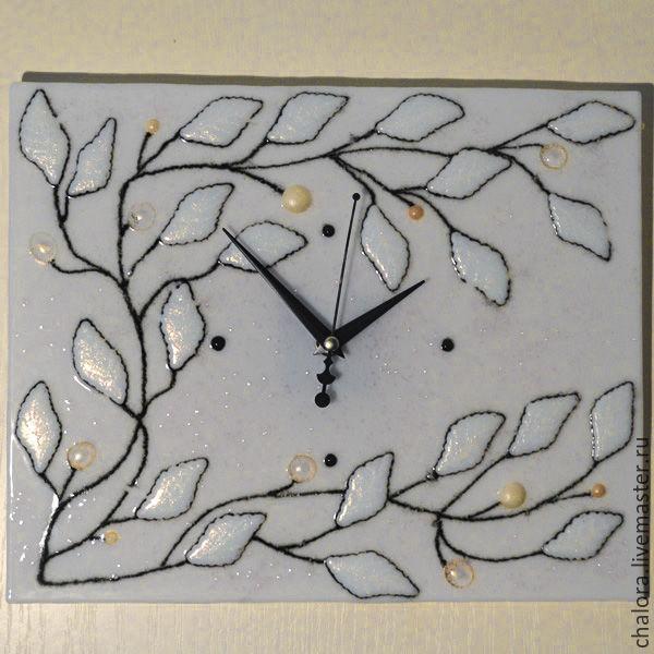 """Часы настенные фьюзинг """"Жемчужные листья"""", Часы, Голицыно, Фото №1"""