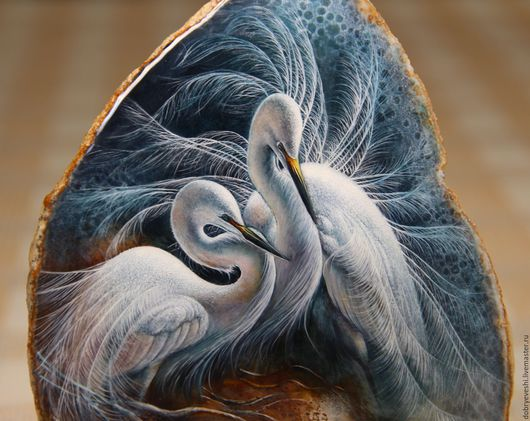 Животные ручной работы. Ярмарка Мастеров - ручная работа. Купить Панно с белыми цаплями.. Handmade. Белый, роспись по камню, Живопись