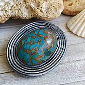 Украшения handmade. Livemaster - original item Turquoise. Brooch polymer clay handmade.. Handmade.