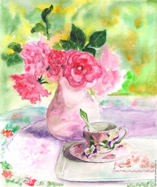 """Натюрморт ручной работы. Ярмарка Мастеров - ручная работа. Купить Картина акварелью """"Утренний чай"""". Handmade. Розовый, чашка чая"""