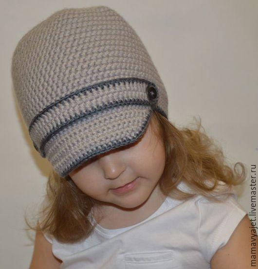Шапки и шарфы ручной работы. Ярмарка Мастеров - ручная работа. Купить шапка для мальчика, шапка с козырьком, кепка. Handmade. Серый