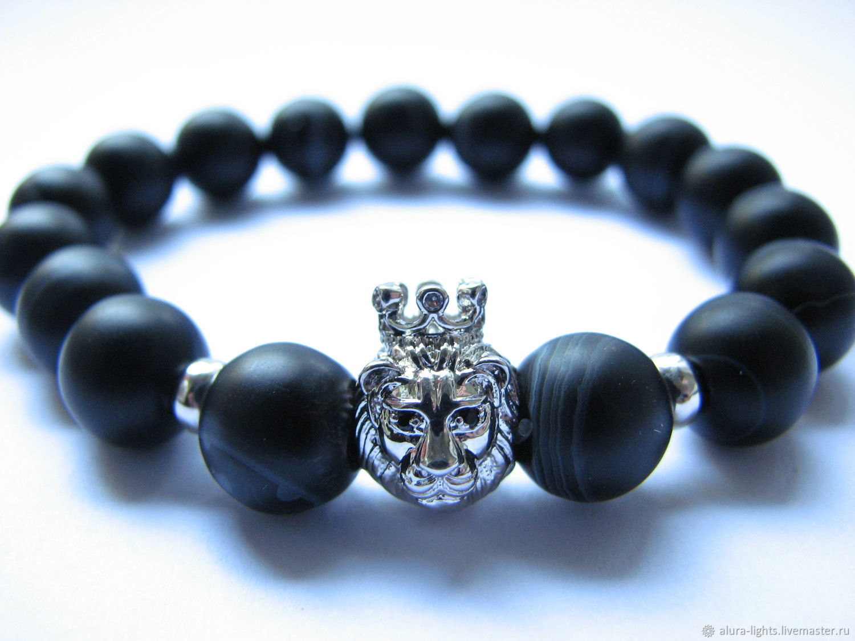 Bracelet black agate 'lion king', Bead bracelet, Moscow,  Фото №1