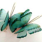 Украшения ручной работы. Ярмарка Мастеров - ручная работа серьги из шелка Изумуд с позолотой. Handmade.