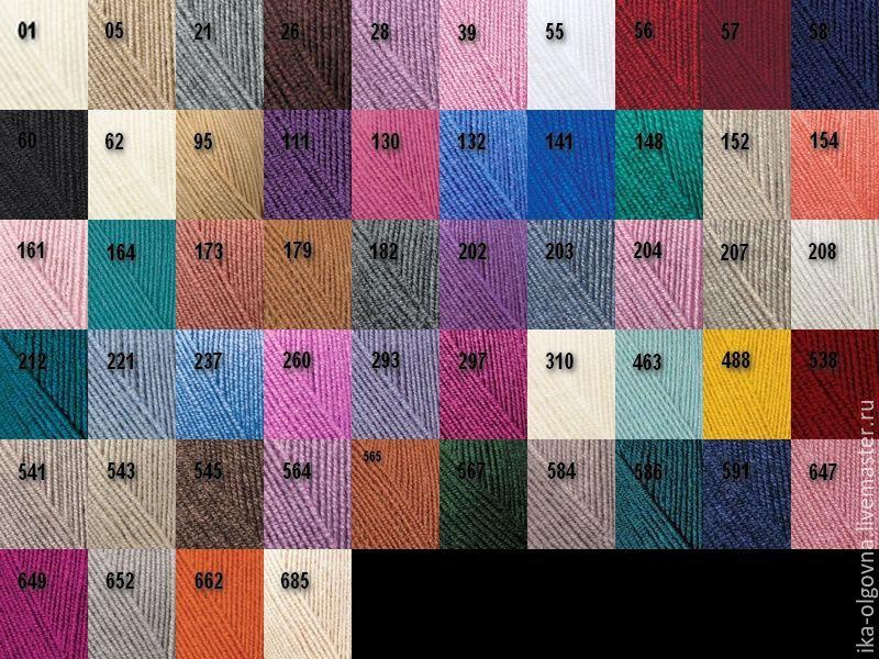 Пряжа ализе суперлана классик цвета