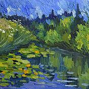 Картины и панно handmade. Livemaster - original item Pictures: Water lilies on the river. Handmade.