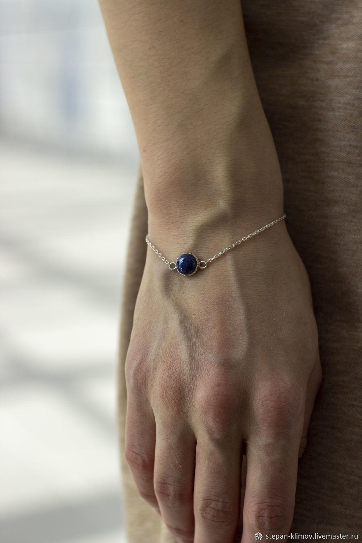 Bracelet 'Earth' silver, lapis lazuli, Chain bracelet, Krasnoyarsk,  Фото №1