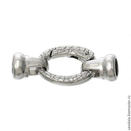 Застежка овальная, серебряный тон, 3.7см x 15.0мм Для шнура 6 мм
